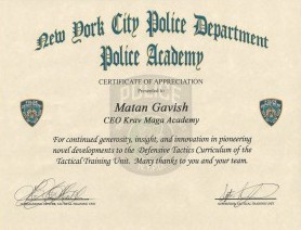 Certificate of Appreciation from New York Police Academy