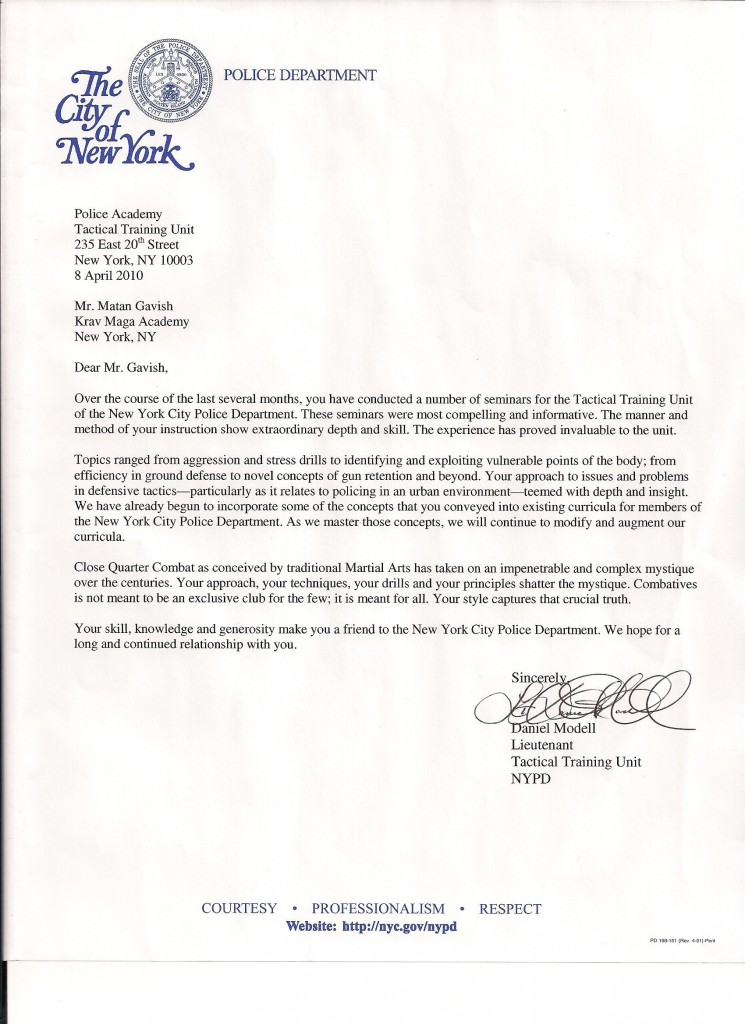 Letter of Reference from NYPD Tactical Training Unit